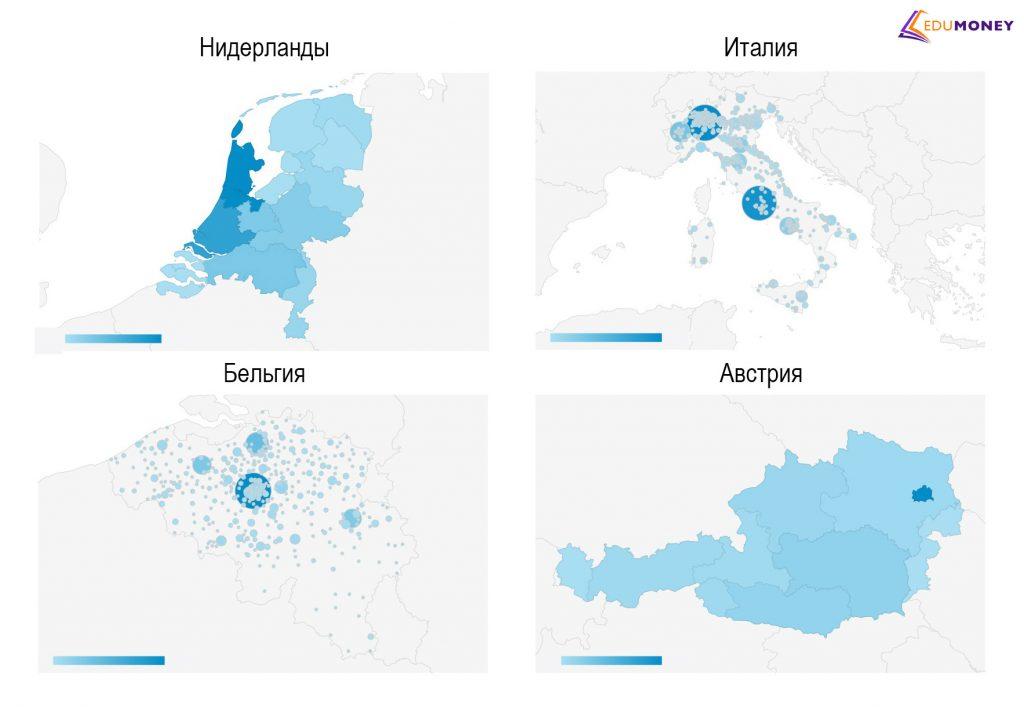 Тепловая карта спроса на письменные работы на английском языке в ключевых странах Европы.